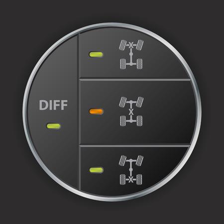 단순하지만 도로 차동 제어 패널 디자인 오프 기능 일러스트