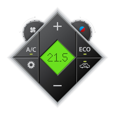 recirculate: Car auto climatronic gauge in rhomb shape with LCD Illustration