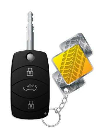 keyholder: Car remote key with cool tire tread keyholder
