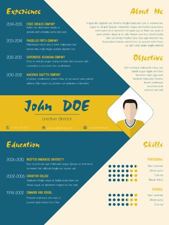 curriculum vitae: Modern curriculum vitae cv resume template design in blue and orange color
