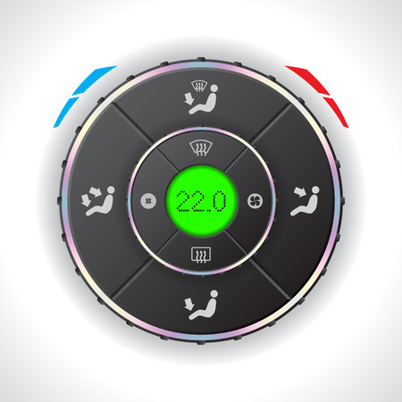 conditions: Car auto climatronic gauge design with green LCD