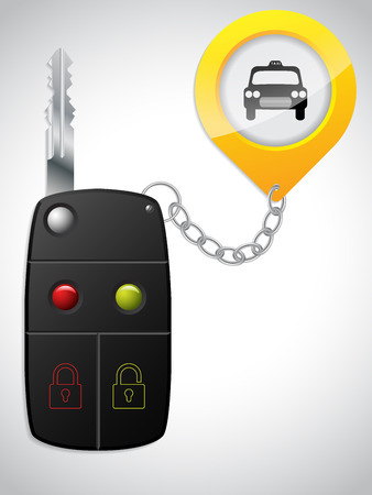 Car remote key with yellow taxi keyholder Illustration