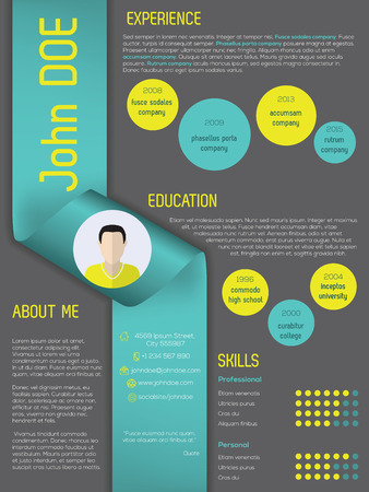 curriculum: Modern curriculum vitae cv resume template design with ribbon
