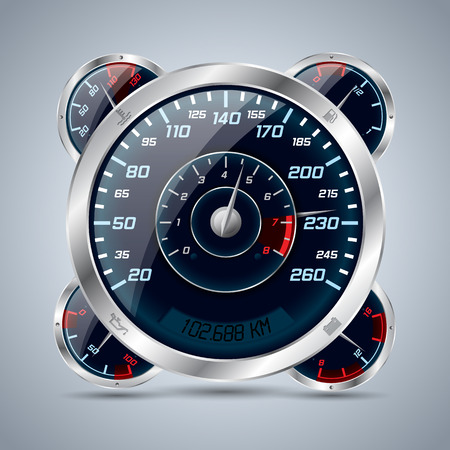 rev counter: Cool shiny speedometer with rev counter and other instruments Illustration