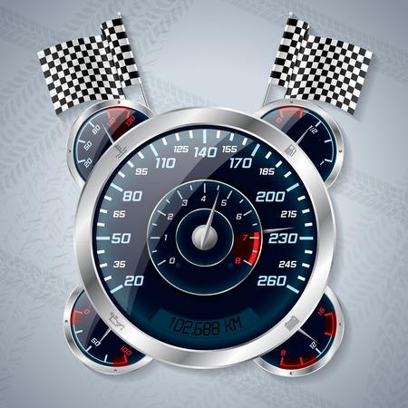 velocimetro: Velocímetro brillante fresco con cuentarrevoluciones y banderas de la raza Vectores