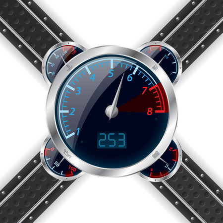 rotations: Analog rev counter with digital speedometer and abstract technology background