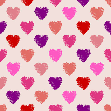 seamless texture: Scribbled heart pattern design ideal for valentines day background Illustration