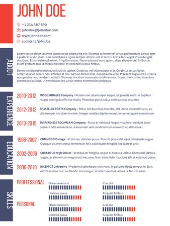 curriculum vitae: Simplistic yet modern curriculum vitae cv resume template design Illustration