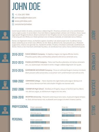 Modern curriculum vitae cv resume template design with side categories