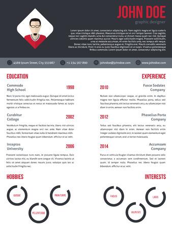 curriculum vitae: New modern curriculum vitae cv resume template design in red and dark gray Illustration