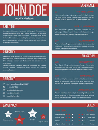 vitae: New resume curriculum vitae cv template design with separate categories