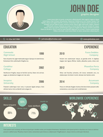 design template: Cool resume cv curriculum vitae template  design with dark and light contrast Illustration