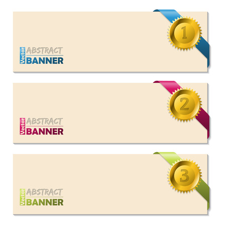 pendent: Cool banners with gold pendent and color ribbons