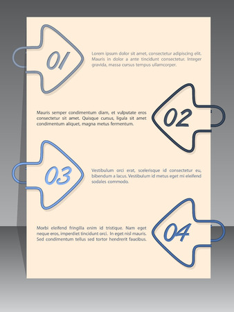 binding: Arrow shaped binding clip infographic design with sample text