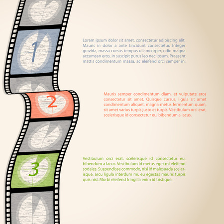 Film strip countdown infographic design with text