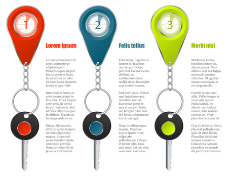 keyholder: Key and keyholder infographic design with colors and options