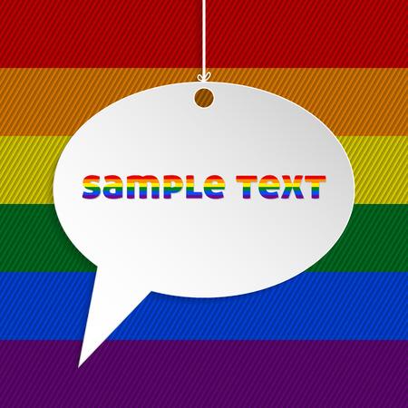 bandera gay: Burbuja del discurso blanco con el texto y el fondo de la bandera gay