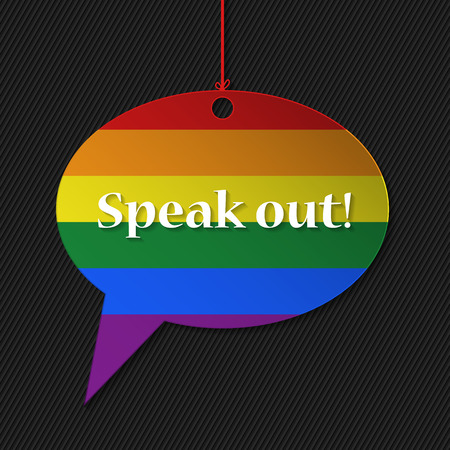 gay pride rainbow: Gay flagged speech bubble with text and striped background