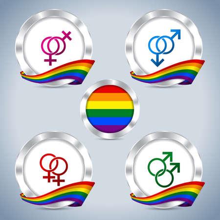 bandera gay: Insignias met�licas fresco con la cinta del orgullo gay y s�mbolos