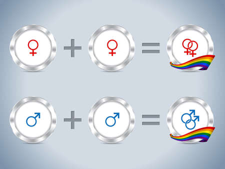 trans gender: Gay lesbian symbols and sign with flag and metallic badges