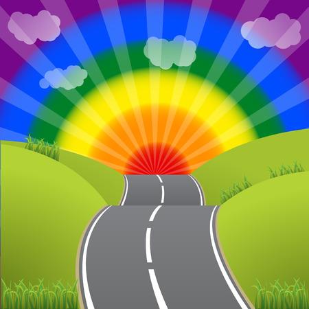 Road leading to a bursting gay lesbian sunset sky Illustration