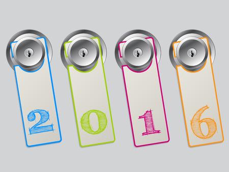 hangers: Cool color door hangers with 2016 text