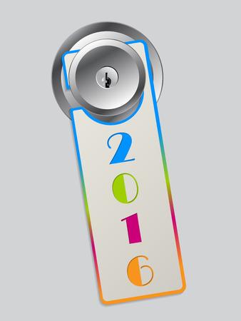 door hanger: Rainbow color door hanger with colored 2016 text