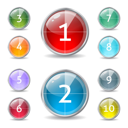 contagem regressiva: Cool shiny buttons with countdown pie and numbers