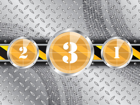 contagem regressiva: Abstract industrial background with countdown timer and tire track Ilustra��o
