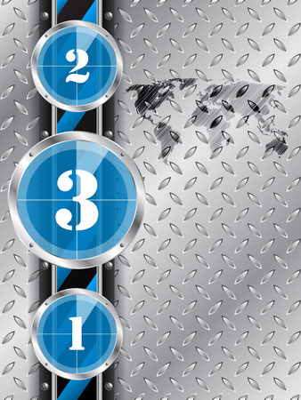 contagem regressiva: Abstract industrial background with blue countdown timer and world map