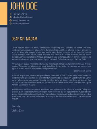 curriculum vitae: Simplistic cover letter curriculum vitae cv resume template design in dark blue Illustration