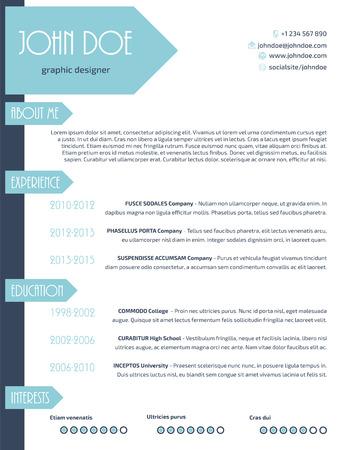 Simplistische moderne cv curriculum vitae cv template design met pijlen Stock Illustratie