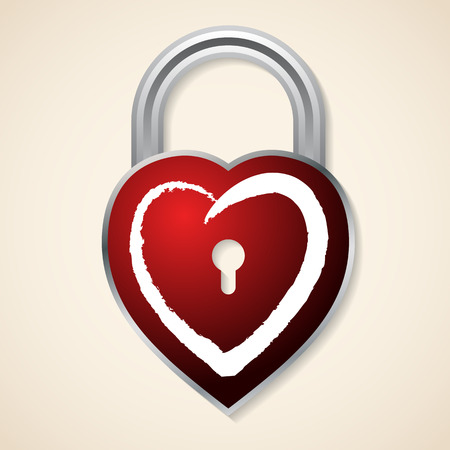 illustration and painting: Red heart shaped padlock on light background Illustration