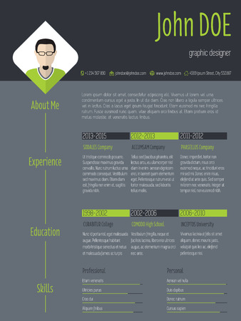 cv: Modern curriculum vitae resume cv template with photo and dark background