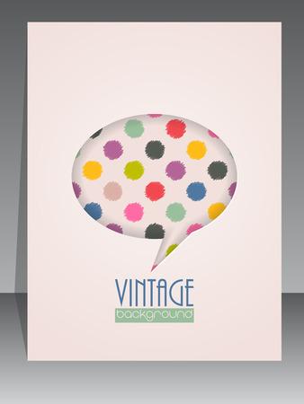 scrapbook cover: Dise�o retro vintage fresco plantilla de la cubierta del libro de recuerdos con bocadillo