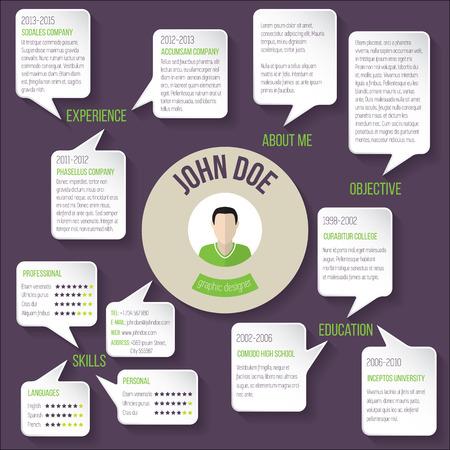 curriculum vitae: Modern resume curriculum vitae cv template design with speech bubbles Illustration