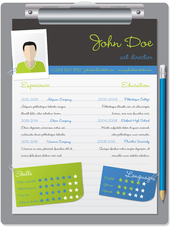 vitae: Cool curriculum vitae cv resume design with clipboard and pencil
