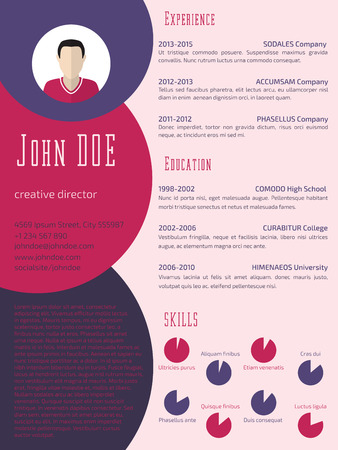 curriculum vitae: Colorful cool new resume curriculum vitae cv template design Illustration