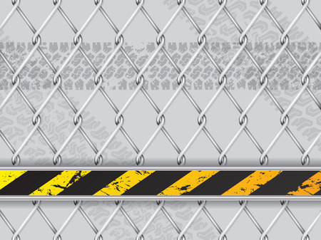 industrial safety: Abstract industrial background design with wired fence and tire track