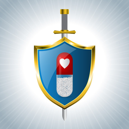 sword and heart: Medicine advertising background design with capsule on shield