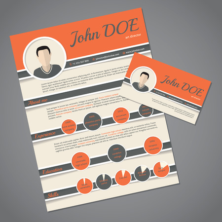 work experience: Curriculum vitae resume cv template design with business card