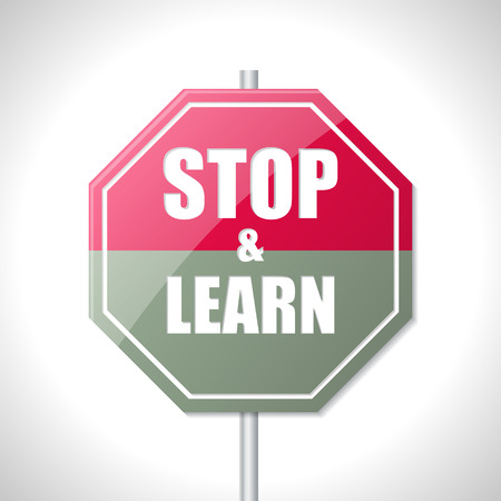 authorization: Stop and learn bicolor traffic sign on white Illustration