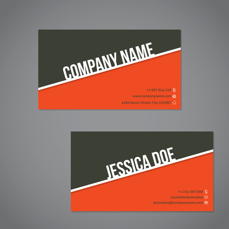 combo: Gray-green  and orange color combo business card template with white stripe