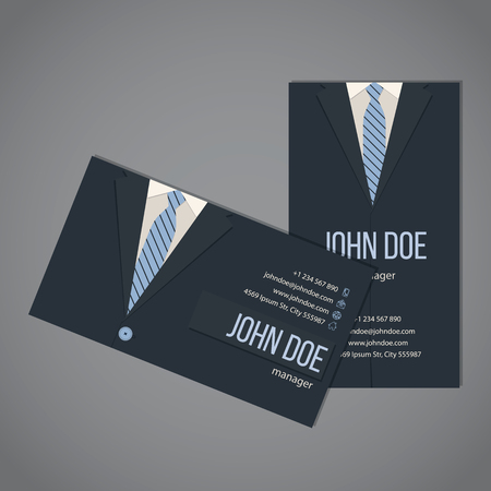 card suits: Business suit business card template design in dark and light blue color