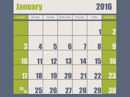 year january: Blue green colored 2016 calendar design for january month