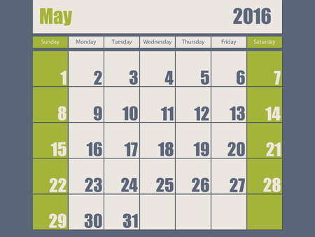 agenda year planner: Blue green colored 2016 calendar design for january month
