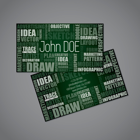 word cloud: Designer business card template with design synonym words Illustration