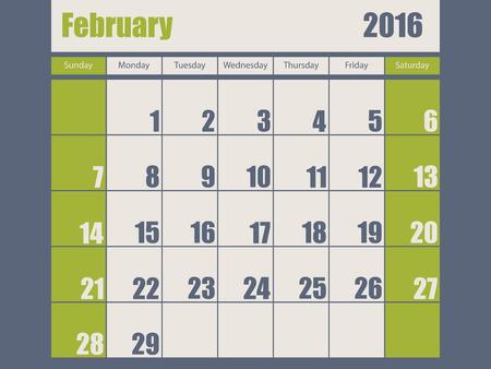 scheduler: Blue green colored 2016 calendar design for february month