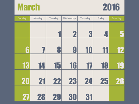 scheduler: Blue green colored 2016 calendar design for march month