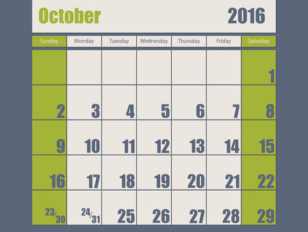 scheduler: Blue green colored 2016 calendar design for october month
